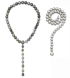 Two Grey Cultured Pearl Neckla