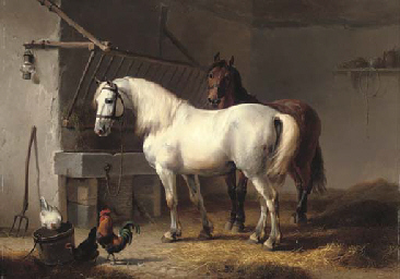 Horses and chickens in a barn