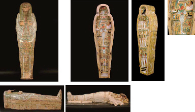 AN EGYPTIAN PAINTED SYCAMORE FIG WOOD SARCOPHAGUS AND MUMMY FOR NESKHONS