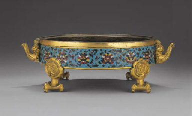 A VERY RARE EARLY MING CLOISONNE ENAMEL CENSER