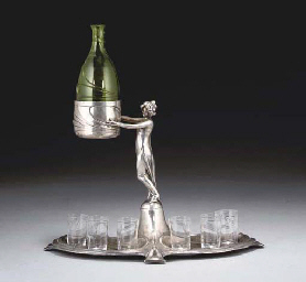 A WMF SILVERED METAL AND GLASS
