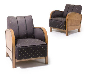 A PAIR OF ART DECO BIRCH LOUNG