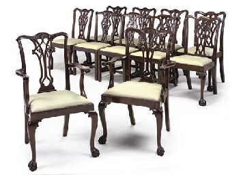 A HARLEQUIN SET OF ELEVEN MAHOGANY DINING CHAIRS