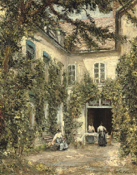 Figures in a courtyard, Montre