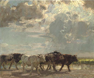 A herd of cows crossing a mars