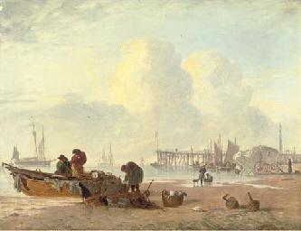 A coastal scene with fisherfol