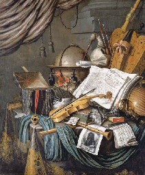 A vanitas still life of a globe, a casket of jewels and medallions, books, a hurdy-gurdy, a bagpipe, a lute, a violin, a silver tazza, a roemer, a nautilus shell, a recorder, a shawn, a print with a self-portrait of the artist and a musical score on a draped table, a curtain above