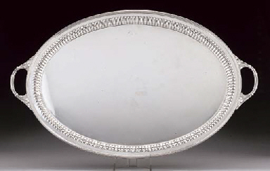AN EDWARDIAN SILVER OVAL TWO-HANDLED TRAY