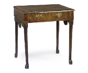 AN OYSTER VENEERED AND BURR WALNUT SIDE TABLE
