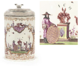 A MEISSEN SILVER-MOUNTED ARMORIAL CHINOISERIE TANKARD