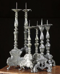 A PAIR OF GERMAN PEWTER CANDLESTICKS