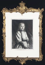 A LARGE DUTCH GILT GESSO PICTURE FRAME WITH ROYAL COAT-OF-AR...