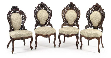 THREE ROCOCO REVIVAL CARVED ROSEWOOD SIDE CHAIRS IN THE MANNER OF