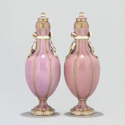 A PAIR OF MINTON VASES AND COVERS AND A PAIR OF PARIS BOTTLE...