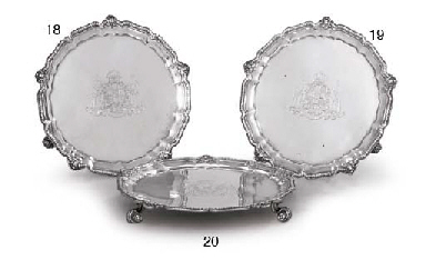 A VICTORIAN SILVER WAITER FROM