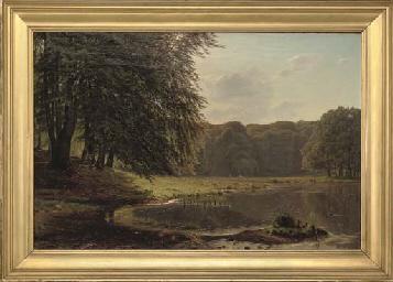 A sunlit lake landscape