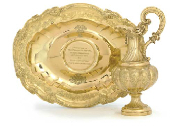 A PORTUGESE SILVER-GILT BASIN AND VICTORIAN SILVER EWER