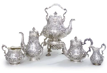 A VICTORIAN SILVER FIVE-PIECE