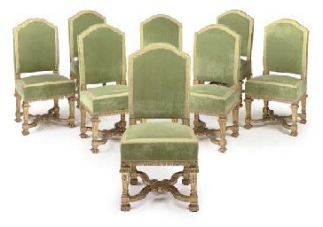 A SET OF EIGHT ROYAL PALACE GILTWOOD SIDE CHAIRS