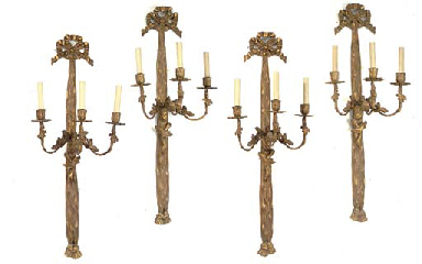 FOUR GILTWOOD THREE-LIGHT WALL