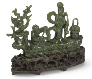 A CHINESE SPINACH JADE MODEL O