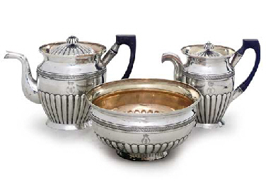 A RUSSIAN SILVER PART TEA AND