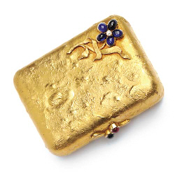 A SMALL RUSSIAN JEWELLED GOLD