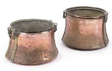 TWO GREEK COPPER AND BRASS-MOU