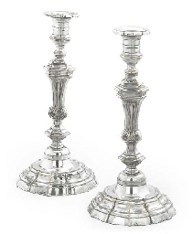 A PAIR OF FRENCH SILVERED META