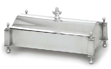 A SILVER-PLATED INKSTAND
