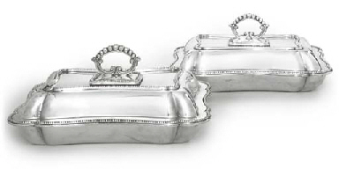 A PAIR OF SILVER-PLATED ENTRÉE