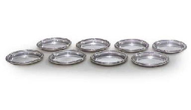 A SET OF EIGHT FRENCH SILVER ASH-TRAYS
