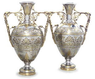 A PAIR OF FRENCH PARCEL-GILT V