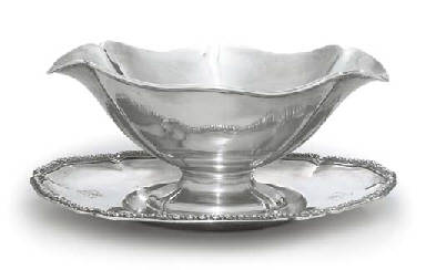 A FRENCH SILVER SAUCEBOAT AND
