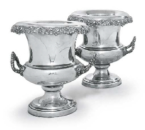 A PAIR OF SILVER-PLATED WINE-C