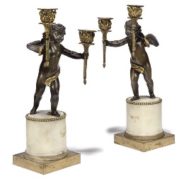 A PAIR OF EMPIRE BRONZE ORMOLU