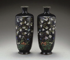 A pair of Japanese cloisonne enamelled vases, Meiji period ...