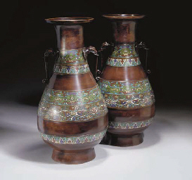 A pair of Japanese bronze, cloisonne enamelled vases, Meiji ...