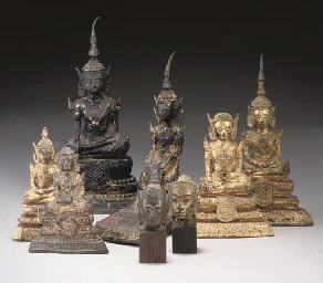Six Thai gilt lacquered bronze figures of Buddha, 19th centu...