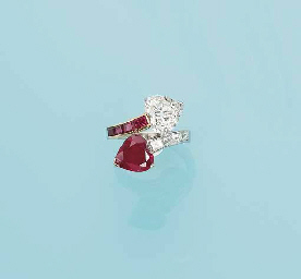 A RUBY AND DIAMOND 'TOI ET MOI' RING