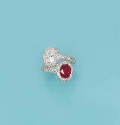 A RUBY AND DIAMOND 'TOI ET MOI' RING, BY MICHELE DELLA VALLE...