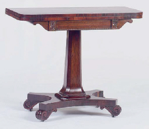 A WILLIAM IV ROSEWOOD FOLD-OVER GAMES TABLE