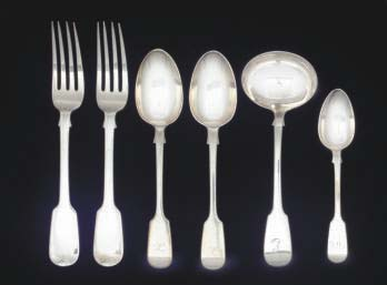 A GROUP OF ANTIQUE FIDDLE PATTERN FLATWARE COMPRISING