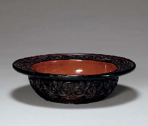 A Carved-Lacquer (Guri) Serving Bowl for Sweets (Kashiki)