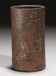 A Chinese cylindrical bamboo b