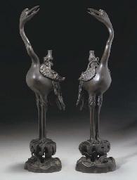A pair of Chinese bronze crane