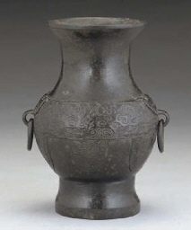 AN Chinese archaistic BRONZE VASE, hu, MING DYNASTY, AND A C...