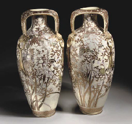 A pair of Japanese satsuma art nouveau style vases, Meiji Pe...