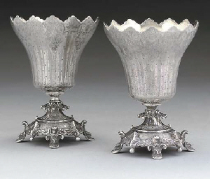 A PAIR OF 19TH CENTURY TURKISH SILVER CUPS OF TULIP FORM