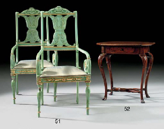 A PAIR OF BALTIC GREEN-PAINTED
